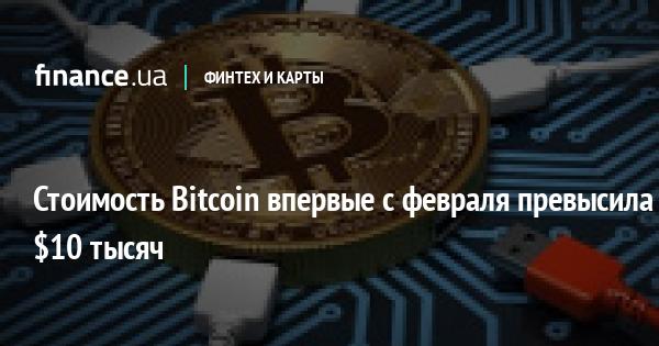 Стоимость Bitcoin впервые с февраля превысила $10 тысяч
